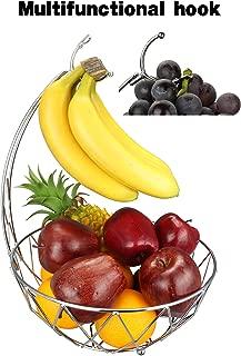 RosyLine Fruit Basket Banana holder, Elegant Fruit Bowl with Banana Tree Hanger (silver)