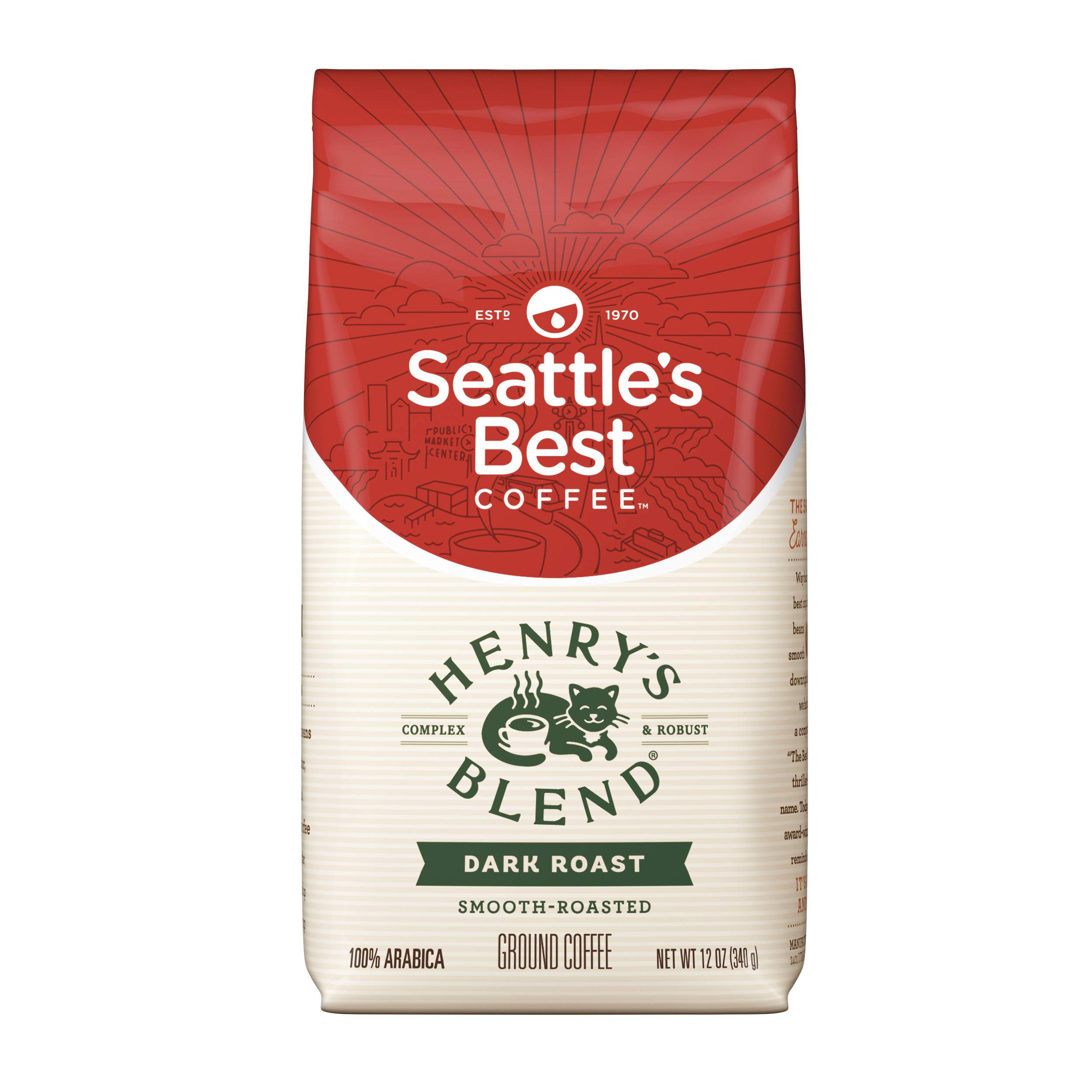 Seattle's Best Coffee Henry's Blend Dark Roast Ground Coffee, 12-Ounce Bag