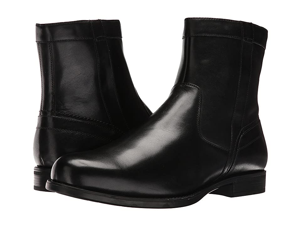 Florsheim Midtown Plain Toe Zip Boot (Black Smooth) Men