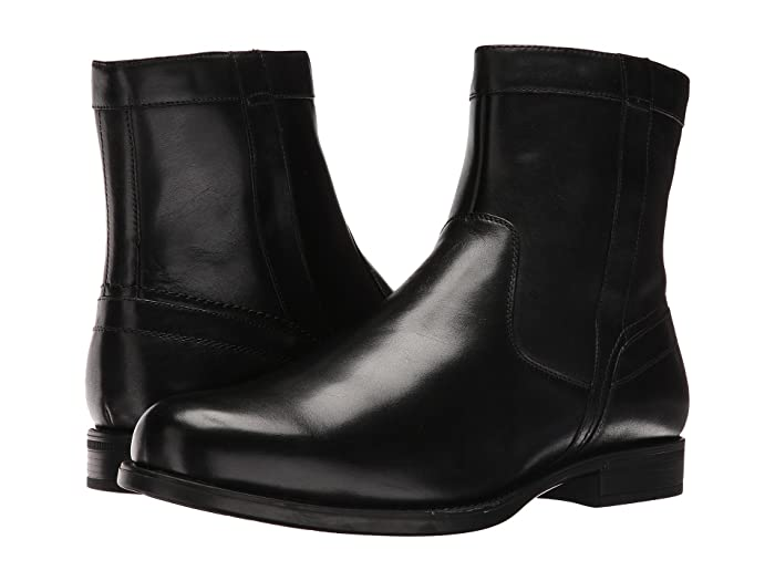 Florsheim  Midtown Plain Toe Zip Boot (Black Smooth) Mens Dress Zip Boots