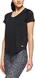 Nike Women's 10k Jacquard Running Short Sleeve Top 891174-010, Black, S