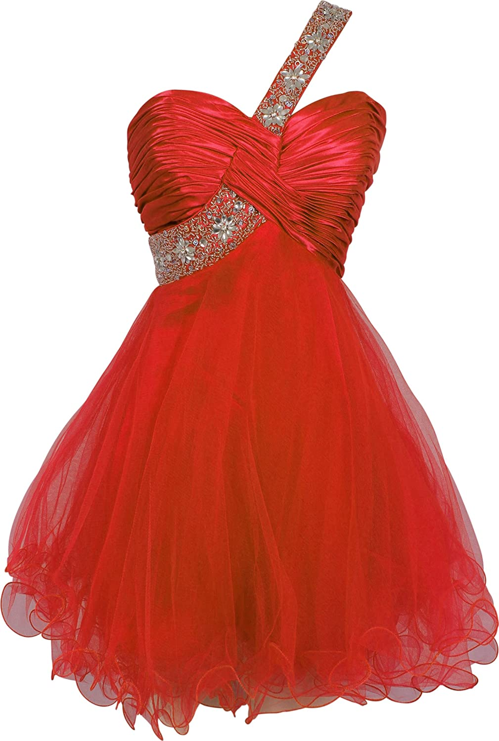 Beaded OneShoulder Mesh Party Short Prom Homecoming Dress