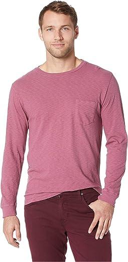 Negative Slub Long Sleeve Garment Dyed Pocket Crew Tee