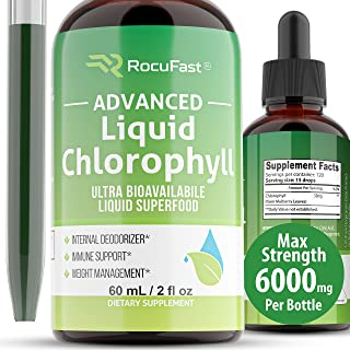 Chlorophyll Liquid Drops 6000mg for Water Helps with Acne Skin Health Natural Deodorant Cleanse Detox Water Fresh Breath I...