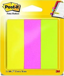 Post-it 671-3 självhäftande remsor sida markör bred, 25 x 76 mm, neoncolour 3 x 100 ark