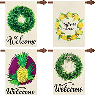 4 Pieces Welcome Garden Flag Boxwood Wreath Burlap Flag Pineapple Lemon Yard Flag Double Sided Summer House Flag Seasonal ...