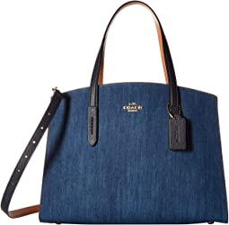 Denim and Leather Blocked Charlie Carryall