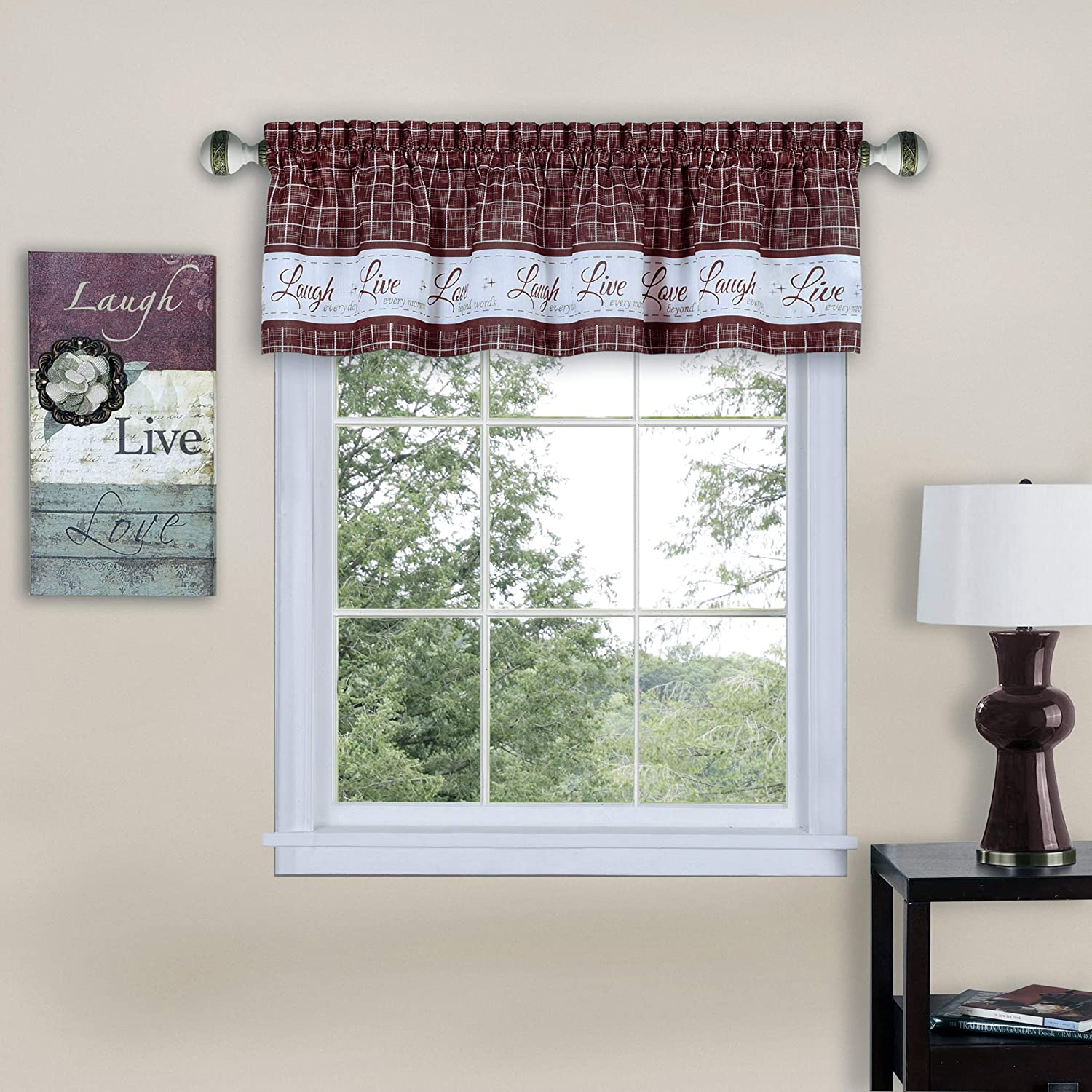 Powersellerusa Country Gingham Check Live Laugh Love Cafe Plaid Kitchen Curtain Set Assorted Colors 58 W X 14 L Valance Green Home Kitchen