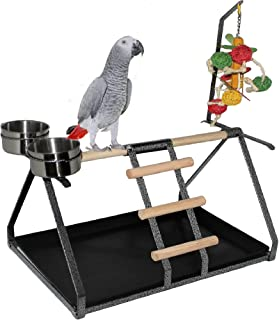 FDC Parrot Bird Perch Table Top Stand Metal Wood 2 Steel Cups Play for Medium and Large Breeds 17.5