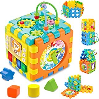 AKILION Baby Activity Cube Toys with Lights & Music, 6 in 1 Electronic Shape Sorter Toys, Bead Maze, Early Development Edu...