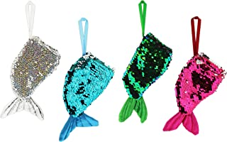 Mini Sequined Mermaid Tail Stocking Ornaments in Silver, Blue, Green & Pink