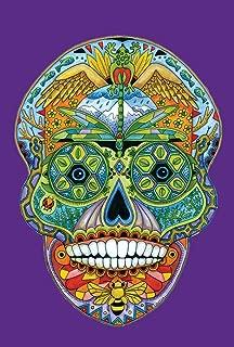 Toland Home Garden Animal Spirits Sugar Skull 28 x 40 Inch Decorative Colorful Native Spiritual Halloween House Flag