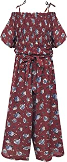 Big Girls Floral Printed Smocking and Ruffle Detailed Jumpsuits with Pockets (Many Options), 7-16