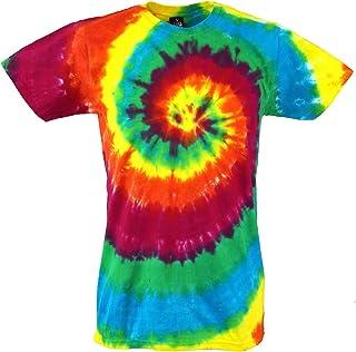 1e1b4039457 GURU-SHOP, Camiseta Rainbow Batik, Camiseta Manga Corta Hombre, Algodón,  Camisetas