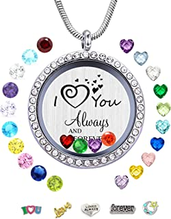 JOLIN DIY Floating Charms Living Memory Lockets, 30mm Stainless Steel Necklace with Charms & Birthstones for Women