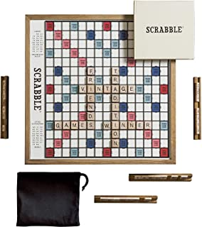 WS Game Company Scrabble Deluxe Vintage Edition with Rotating Game Board