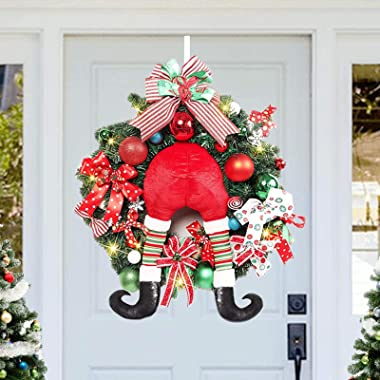 ALLYORS Pre-Lit24 INCH Big Size Delightful Elf Red Green White Lighted Christmas Wreaths, Ribbon Bow, Candy Cane, Ball Orname