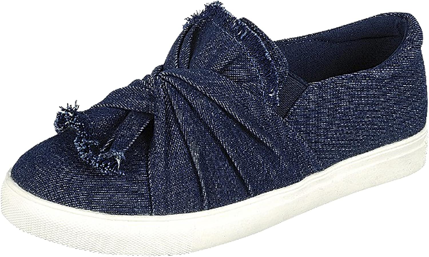 Forever Link Women's Slip on Ruched Tie Fashion Sneaker