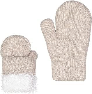 Unisex Kids Toddler Soft Plush Knit Faux Fur Lining Warm Winter Mittens