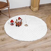 DegGod Pure White Christmas Tree Skirts with Sequin, 48 inches Plush Xmas Tree Skirt Mat with Faux Fur Trim Border for Tha...