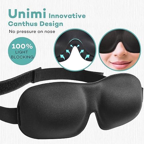 Unimi Premium Schlafmaske, 3D Augenmaske schlafen bequem und weich. Augenmaske für Damen Und Herren mit Gummiband für einen tiefen und erholsamen Schlaf Komplett Dunkelheit gegen Licht