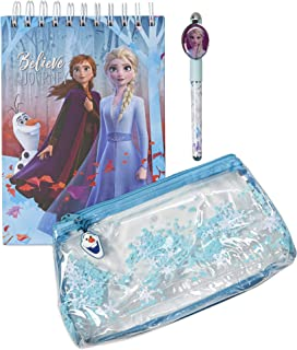 Frozen 2 Accessories Magical Pouch Stationery Set with Glitter Pencil Case, Chunky Top-Spiral Notebook, and Novelty Pen with Queen Elsa