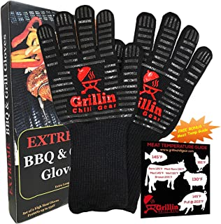 BBQ Grilling Gloves by Grill n Chill - 932�F Extreme Heat Resistant Grill Gloves for Cooking, Oven, Barbecue - Longest (15 inches) for Best Fire Protection