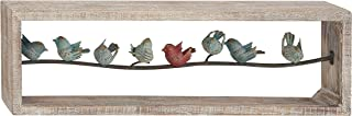 Deco 79 Natural 11 x 35 Rectangular Framed Iron Perched Birds On Wire Wooden Wall Decor, Green, White, Red