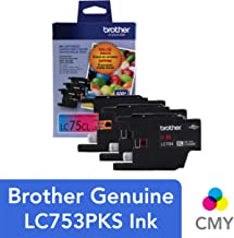 Brother Genuine High Yield Color Ink Cartridge, LC753PKS, Replacement 3 Pack Color Ink, Includes 1 Cartridge Each of Cyan, Magenta & Yellow, Page Yield Up To 600 Pages/Cartridge, LC753PKS