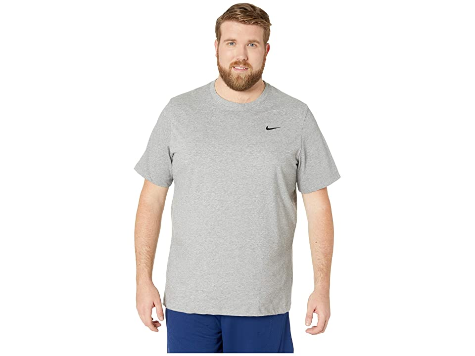fda2ec0d Nike Big Tall Dry Tee Dri-Fit Cotton Crew Solid (Carbon Heather/White) Men's  T Shirt