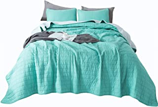ANNA.Z HOME Seville, Mason, Coverlet, Quilt Collection, 100% Cotton 3 Piece Set. Trendy Embroidery & Quilting. Ivory and Gray Color. Reversible. Good for All Seasons (Green, Oversize Twin Set)