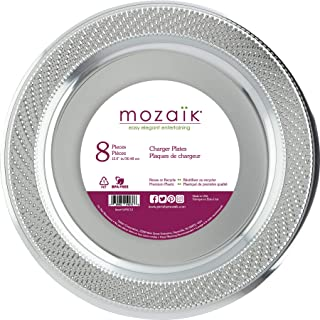 """Mozaik wpsc12 Chargers/Serving Platters, 12"""", Silver"""