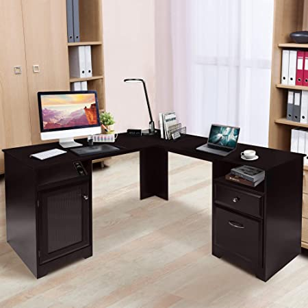 CHADIOR L Shaped Corner Computer Gaming Desk With Drawers Storage Modern Wood Study Workstation Table for Small Space Home Office, Dark Brown