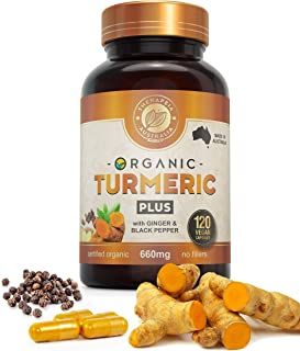 Organic Turmeric Capsules PLUS 120caps with black pepper and ginger - Australian Owned & Manufactured whole food anti-infl...