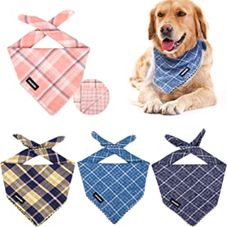 IOKHEIRA Dog Bandana, 4PCS Washable Cotton Scarfs Reversible Square Plaid Dog Kerchief Adjustable Accessories for Small Medium Large Dogs and Cats