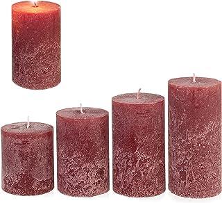 Candelo - Juego de 4 velas rústicas para Navidad, corona de Adviento, color burdeos y rojo oscuro, 8/10/12/14 cm