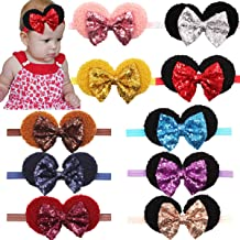 Baby Girls Sequin Headbands 6Inch Large Big Sparkly Glitter Sequin Hair Bows Headband for Newborn Infant Toddlers Babies Pack of 10 Colors