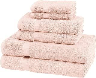 Pinzon Organic Cotton Bathroom Towels, 6 Piece Set, Pale Pink
