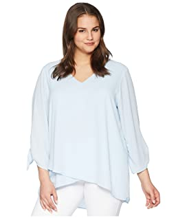 Plus Size Crossover Tie Sleeve Top