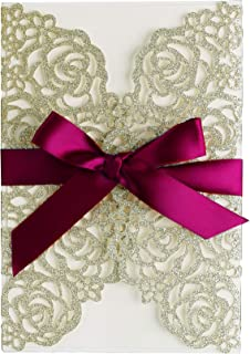 PONATIA 25PCS/Lot 250GSM 5.12 x 7.1'' Glitter Wedding Invitations Cards Hollow Rose with Burgundy Ribbon for Wedding Bridal Shower Engagement (Champagne Gold Glitter)