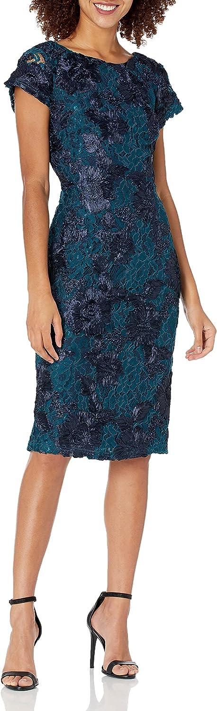 JS Collections Women's Floral Soutache Short Sleeve Boat Neck Midi Dress