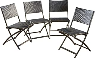 Christopher Knight Home 296423 (Set of 4) Jason Outdoor Brown Wicker Folding Chair