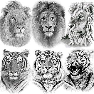 برچسب های خال کوبی موقت IGEM GM 6 Sheets Tribal Lion King موقت برای مردان کودکان و نوجوانان خنک سیاه و سفید طراحی خال کوبی جعلی ضد آب برای زنان بدن هنر واقعی خال کوبی های بزرگ موقت کاغذ حیوانات
