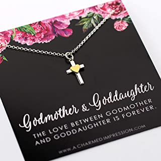Godmother Goddaughter Gift • Infinite Love Necklace • 925 Sterling Silver • Cross with Tiny Heart Charm • Baptism Gift Religious Jewelry • Goddaughter Godmother • Proposal, Fairy Godmother, Godchild