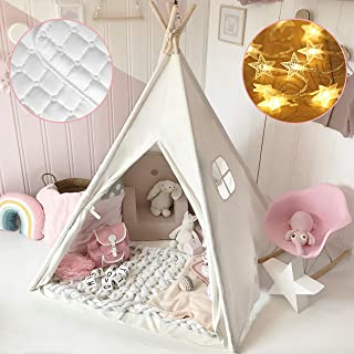 Kids Teepee Tent with Mat & Light String& Carry Case- Kids Foldable Play Tent for Indoor Outdoor, Raw White Canvas Teepee...