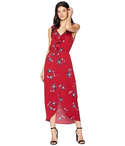 American Rose Holly Ruffle Midi Dress (Burgundy) Women