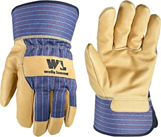 Heavy Duty Work Gloves with Leather Palm (Wells Lamont 3300XL), Blue/Tan, X-Large