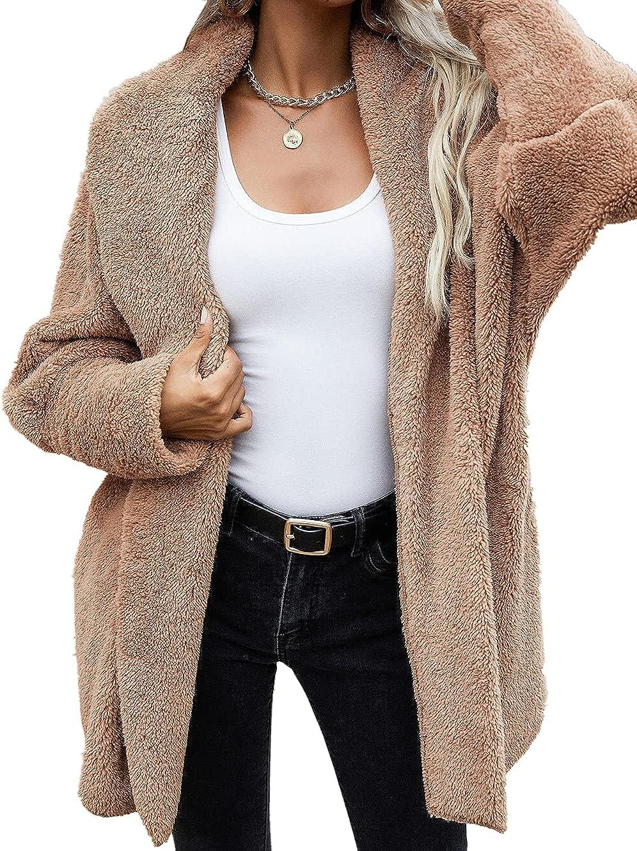 Women's Sherpa Jacket Long Sleeve Fleece Warm Shaggy Teddy Coat Oversized Cardigan Outwear