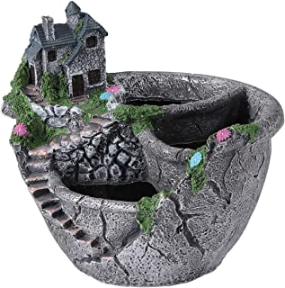 Cabilock Mini Fairy Garden Flower Plants Pots Planter Resin Succulent Pots Planter Bonsai Plant Holder (Silver Villa Style)