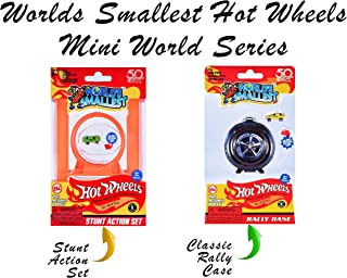 Worlds Smallest Hot Wheels Mini World Stunt Action Set with Classic Rally Case. Set Includes 2 Exclusive Hot Wheels Cars!